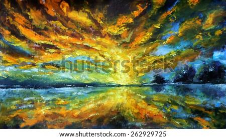 Sunrise over river - seascape artwork: Magic sunrise over lake oil painting on canvas. Impasto artwork. Impressionism art.