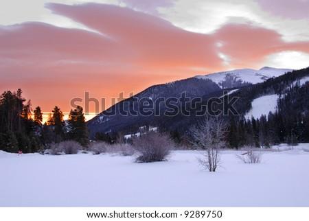 sunrise over rocky mountain near Keystone CO - stock photo
