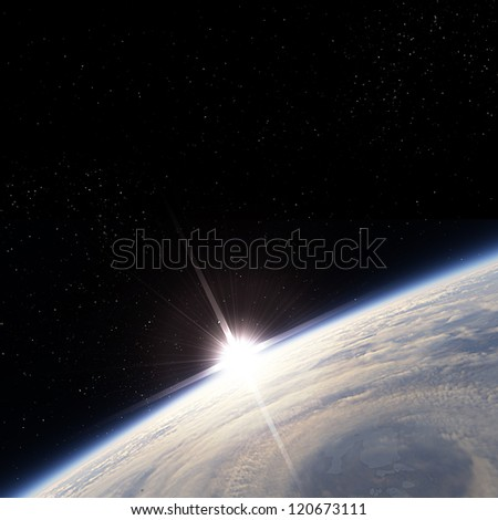 Sunrise over storm view from the Earth orbit - stock photo