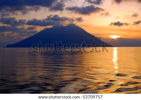 sunrise over Stromboli island, Italy