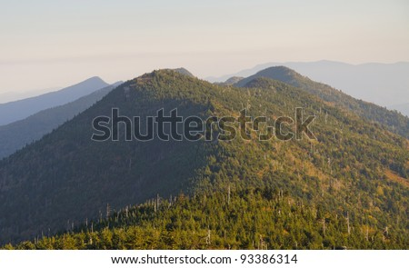 sunrise over the Appalachian Mountains from Mount Mitchell, the highest point in the eastern United States - stock photo
