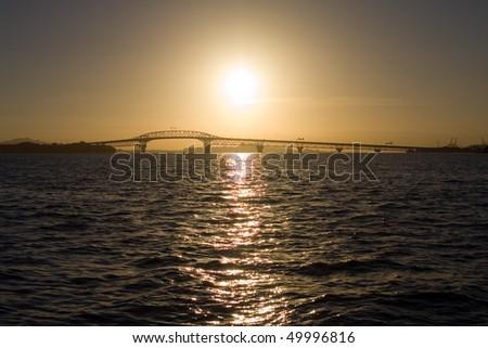 Sunrise over the Auckland Harbor Bridge and Waitemata Harbor