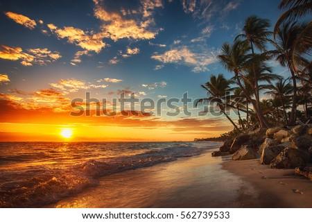 Stock Photo Sunrise over the beach. Punta Cana
