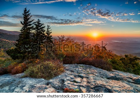 Sunrise over the Blue Ridge Mountains along the Blue Ridge Parkway in NC #357286667