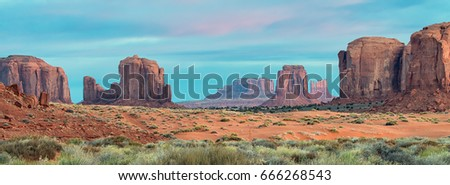 Sunrise over the buttes in Monument Valley, Arizona #666268543