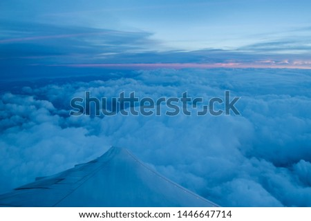 Sunrise over the clouds over Europe
