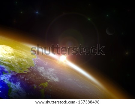 Sunrise over the Horizon. Elements of this image furnished by NASA