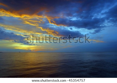 Sunrise over the Mediterranean ocean Malta.