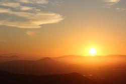 Sunrise over the Mountains - Fiery daybreak over the foothills of the Sierra Madre Occidental range near Mazatlan, Mexico