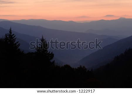 Sunrise over the North Carolina mountains - seen from Newfound Gap, Tennessee, Smoky Mtns Nat. Park, USA.