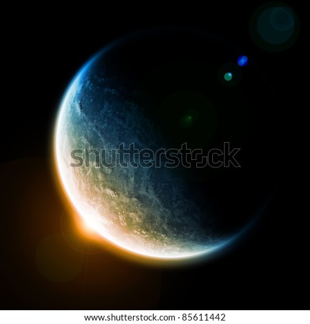 Sunrise over the planet earth in space
