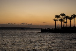 Sunrise over the Red Sea. The Sun is preparing to rise. Morning in Egypt