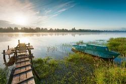 Sunrise over the river.  Volkhov River, Russia