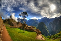 Sunrise over the ruins of Machu Picchu, Peru  in HDR