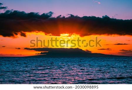 Sunrise over the sea horizon. Sea at dawn. Sunrise sky clouds over sea. Sea sunrise landscape