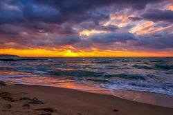 Sunrise over the sea. Long exposure