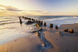 Sunrise over the sea, seacoast, rocks,contemplating the sunrise