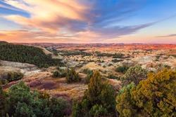Sunrise over Theodore Roosevelt National Park, North Dakota