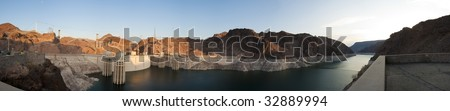 Sunrise Panorama of the Hoover Dam and Lake Mead - stock photo