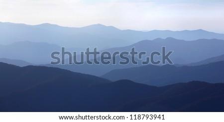 sunrise panorama over the mountains