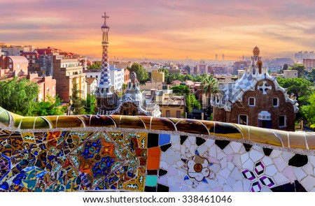 Shutterstock sunrise Parc Guell designed by Antoni Gaudi located on Carmel Hill, bench covered with tile-shard mosaic, Barcelona, Spain.