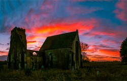 Sunrise ruined church silhouette. Ruined church sunrise scene. Sunrise ruines. Ruines at sunrise
