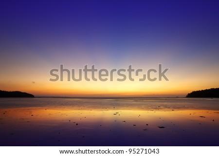 Sunrise scene. Long exposure shot.
