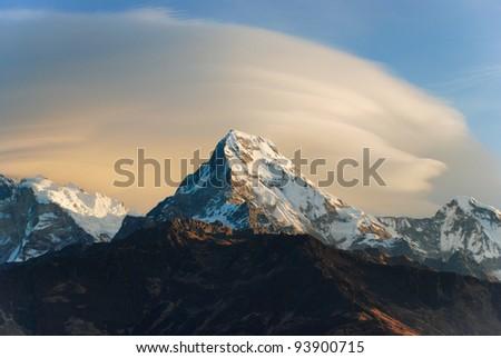 Sunrise scene of Annapurna range from Poon hill, Ghorepani, Nepal