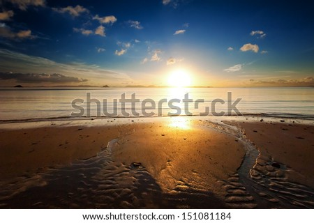 Sunrise sea beach sky landscape. Beautiful sun light reflection in ocean water nature background