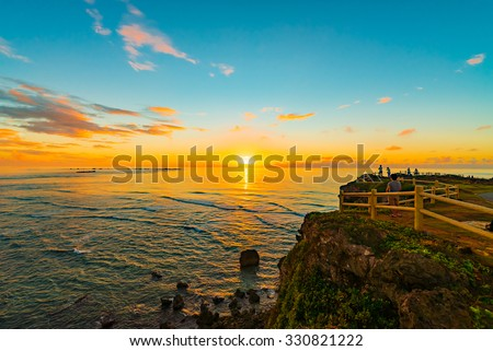 Sunrise, sea, seascape. Okinawa, Japan, Asia.
