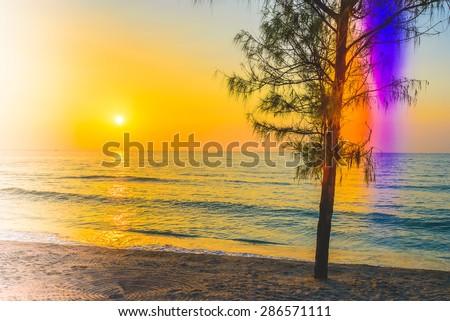 Sunrise sea - vintage filter and light leak effect