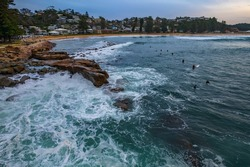 Sunrise seascape from above at Avoca Beach on the Central Coast, NSW, Australia.