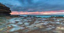 Sunrise Seascape Panorama from the Rock Platform at North Avoca Beach on the Central Coast, NSW, Australia.
