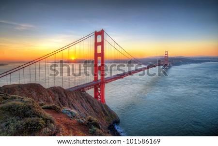 Sunrise seen from Golden Gate Bridge in San francisco #101586169