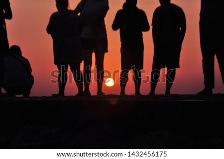 sunrise silhouette on Sanur beach #1432456175