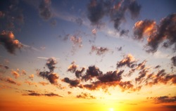 Sunrise sky over the sea. Nature composition.