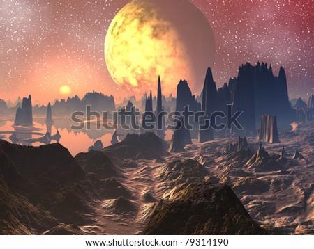 Sunrise / Sunset over Alien Landscape - stock photo