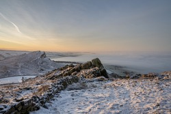 Sunrise temperature inversion at The Roaches during winter in the Peak District National Park.