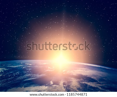 Sunrise. The elements of this image furnished by NASA.