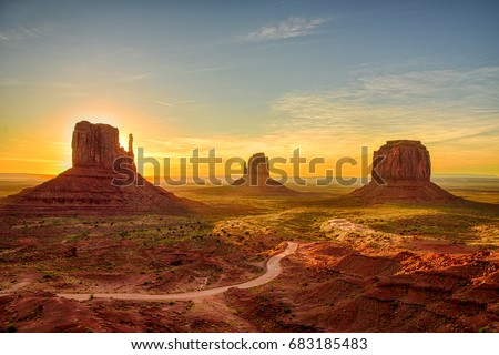 Sunrise view at Monument Valley, Arizona, USA #683185483