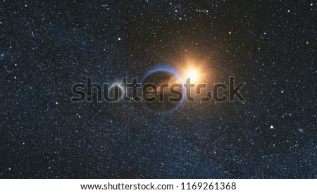 Sunrise view from space on Planet Earth and Moon rotating in space against the background of the star sky and the Sun. Seamless loop. Astronomy and science concept. Elements of image furnished by NASA