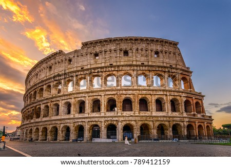 Sunrise view of Colosseum in Rome, Italy. Rome architecture and landmark. Rome Colosseum is one of the main attractions of Rome and Italy