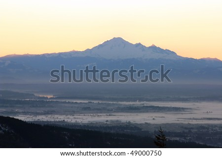 sunrise view of mountain baker. - stock photo