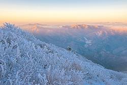 Sunrise view of snow and hoarfrost on trees against red color mountain range at Taebaeksan Mountain near Taebaek-si, South Korea