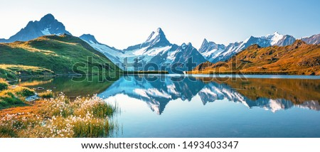 Sunrise  view on Bernese range above Bachalpsee lake. Popular tourist attraction. Location place Switzerland alps, Grindelwald valley, Europe.  #1493403347