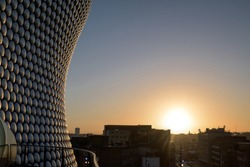 Sunrise Winter sky in Birmingham city centre in the West Midlands of England,UK.