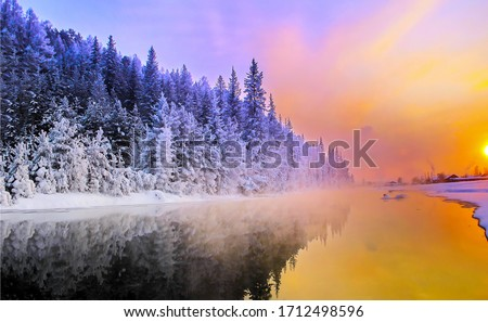 Sunrise winter snow forest river landscape. Winter forest river sunrise view. Winter river sunrise scene. Sunrise winter river landscape