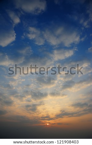 Sunrise with only sky and cloud.