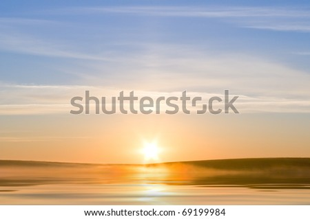 Sunrising on the sea