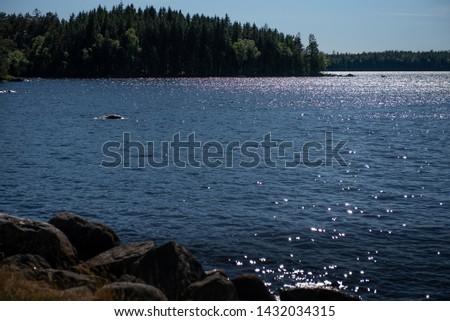 Suns glisten on a lake